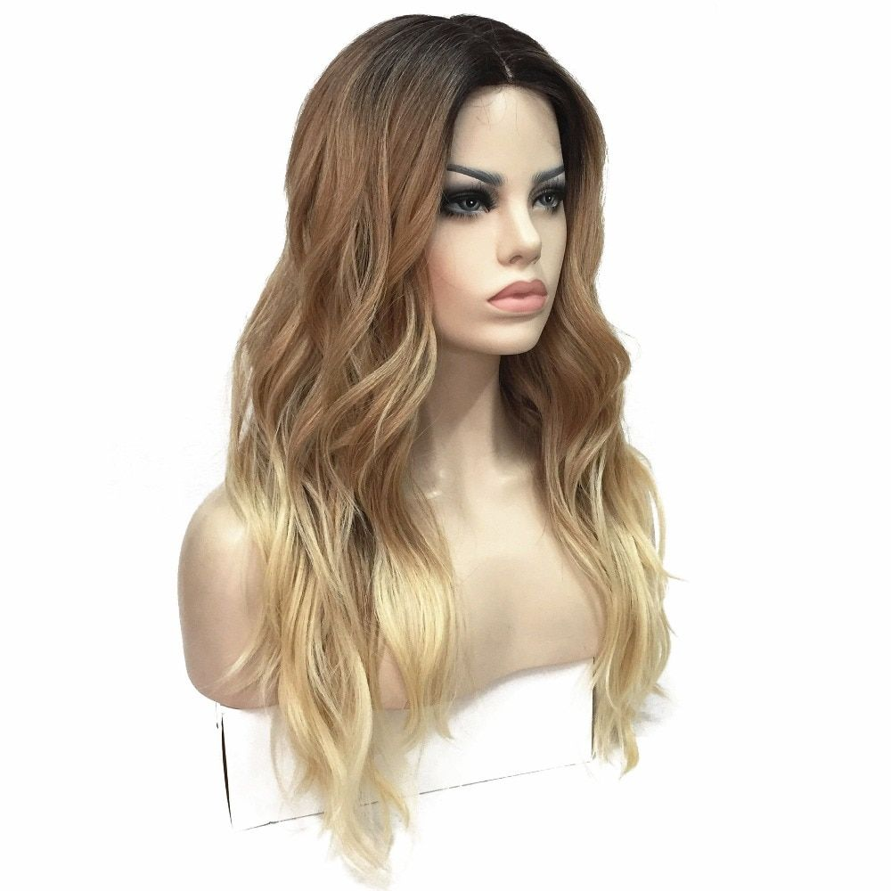 StrongBeauty Women's Ombre Wigs Synthesis Natural Long Wavy Blonde Highlights Full Wig