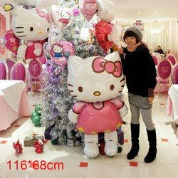 116*68cm Hello Kitty Balloons HelloKitty foil balloons for Christmas Birthday Wedding Party Decoration inflatable air balloons