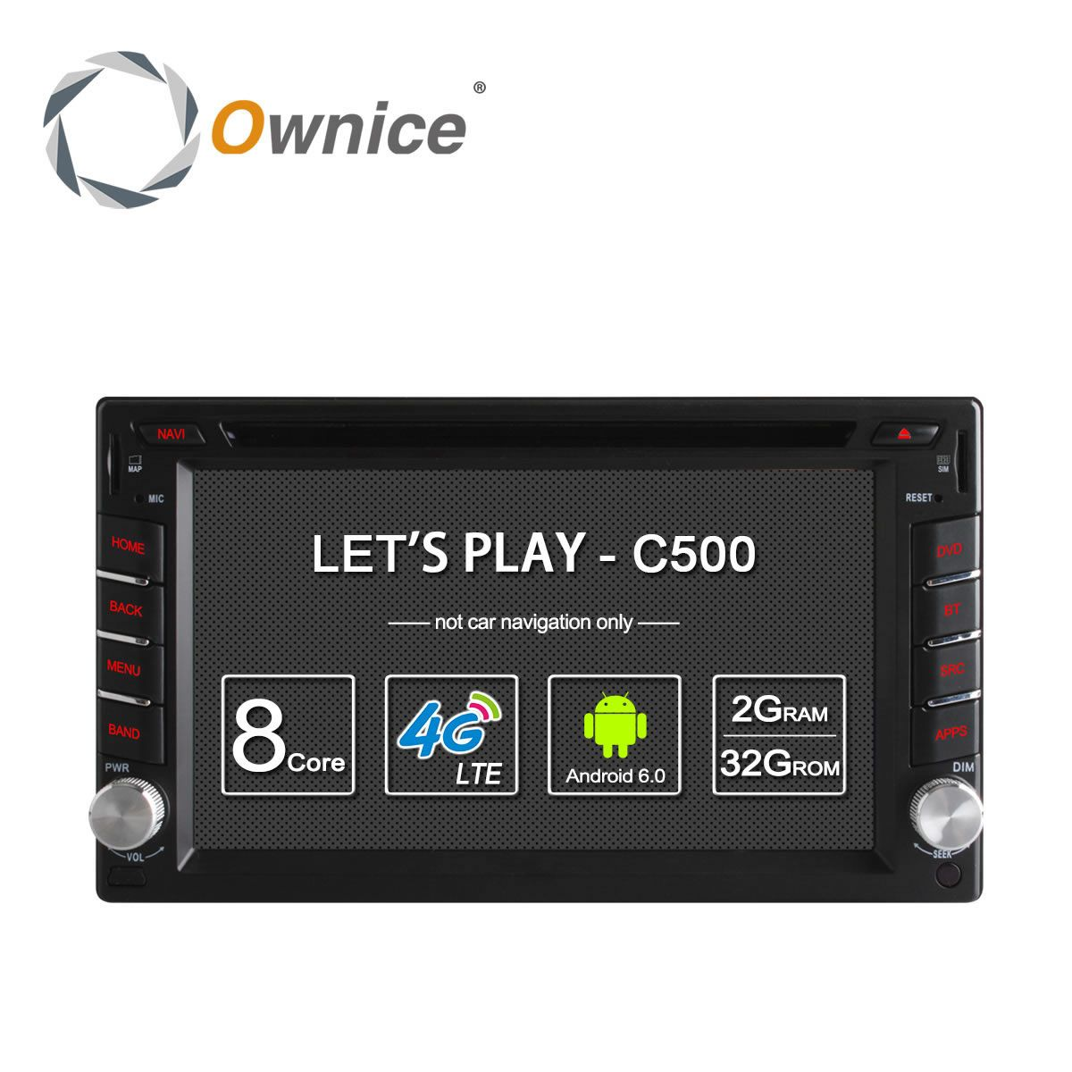 Ownice C500 Universal 2 din Android 6.0 Octa 8 Core Car DVD player GPS Wifi BT Radio BT 2GB RAM 32GB ROM 4G SIM LTE Network