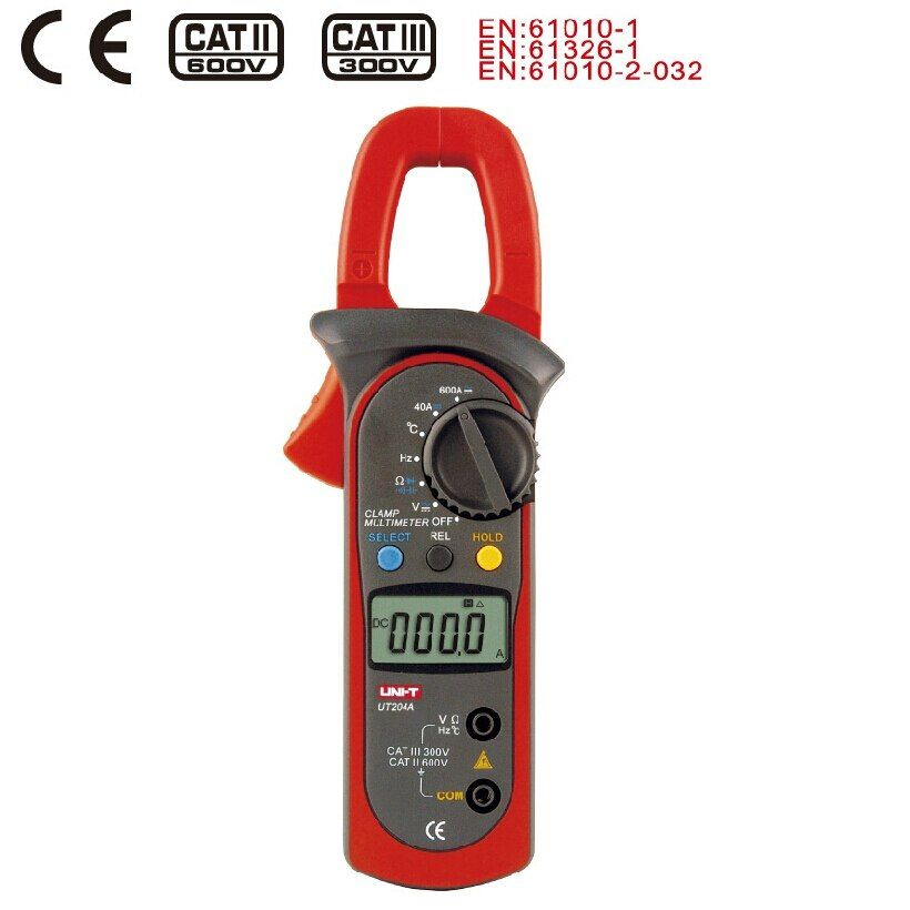 Digital Clamp Meter UNI-T UT204A Current Clamp AC/DC Current Voltage Capacitor Resistance Tester Amper Voltmeter