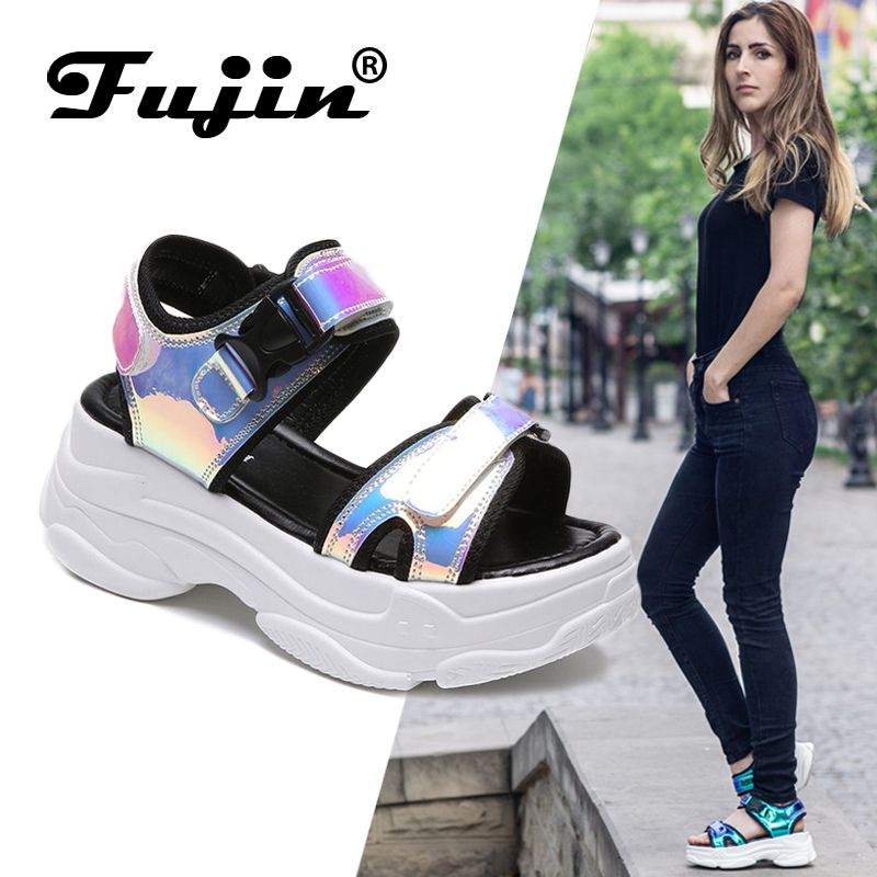 Fujin Brand Women Sandals 2019 New Fashion Ladies Casual Shoes Bling Wedges Buckle Strap Platform Shoes 5 CM Summer Sandals