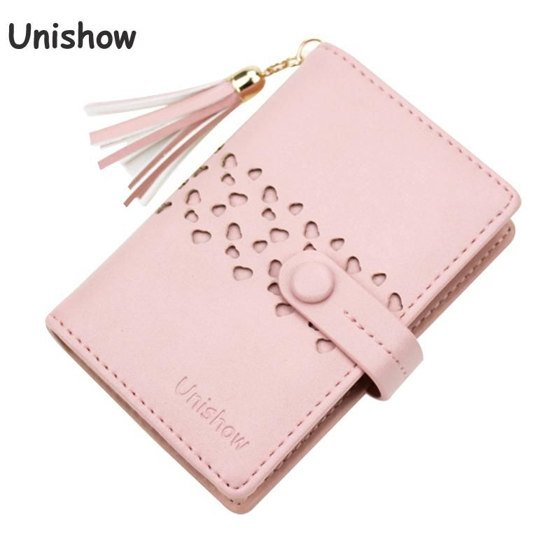 Unishow 20 Card Slots Women Card Holders Tassel Hollow Card Wallet Fashion Small Lady Credit Card Holder Business Id Holder Bag