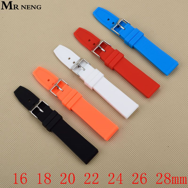 Rubber Silicone 16/18/20/22/24/26/28mm Solid Watch Black Red White Multi Color Army Military watchbands Strap Bands Buckle 20mm