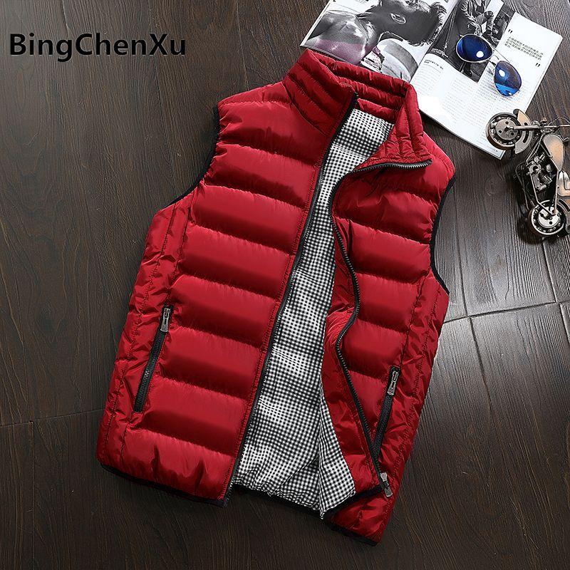Bingchenxu Men Vest Winter Jackets Fashion Casual Sleeveless Coat Thick Warm Zipper Jacket Outerwear Cotton-Padded Waistcoat 485