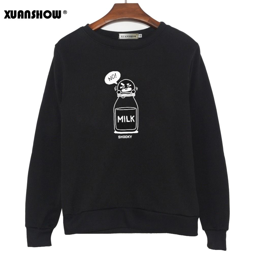 XUANSHOW 2019 BT21 SHOOKY CHIMMY Cartoon Milk Letters Fashion Sweatshirts Streetwear Man woman Pullover Clothes Sudaderas 5XL