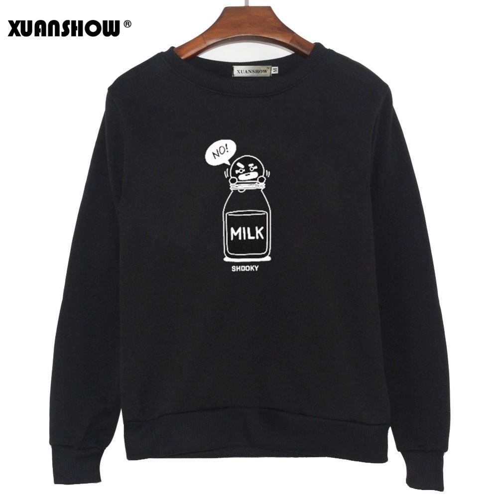 XUANSHOW 2019 BT21 SHOOKY CHIMMY dessin animé lait lettres mode Sweatshirts Streetwear homme femme pull vêtements Sudaderas 5XL
