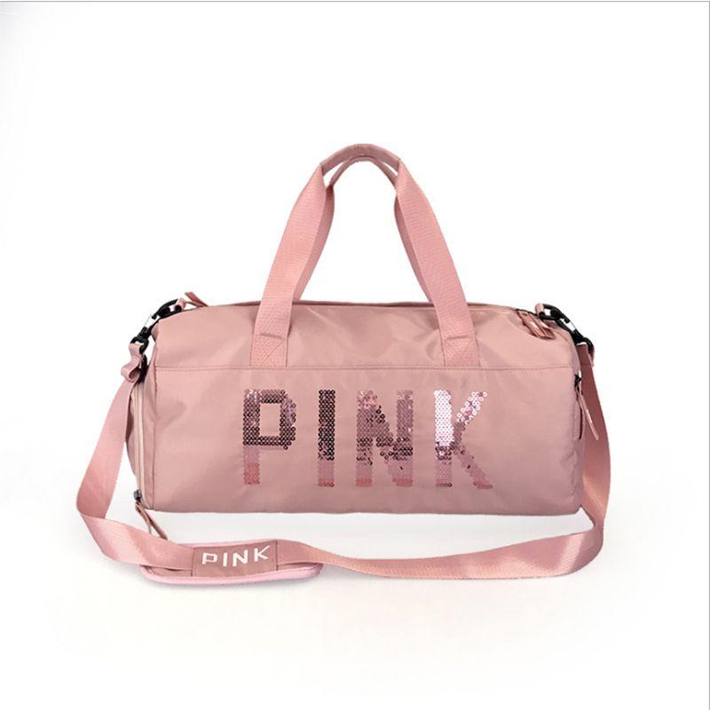 The latest design sequins PINK letter fitness bag dry and wet separation sports bag shoulder Messenger bag couple handbag travel