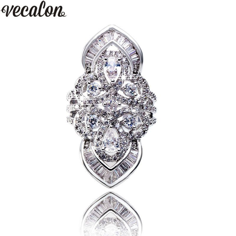 Vecalon Luxury Baroque Court Style Ring 925 Sterling Silver 5A Zircon Cz Engagement Wedding Band rings for women men Finger ring