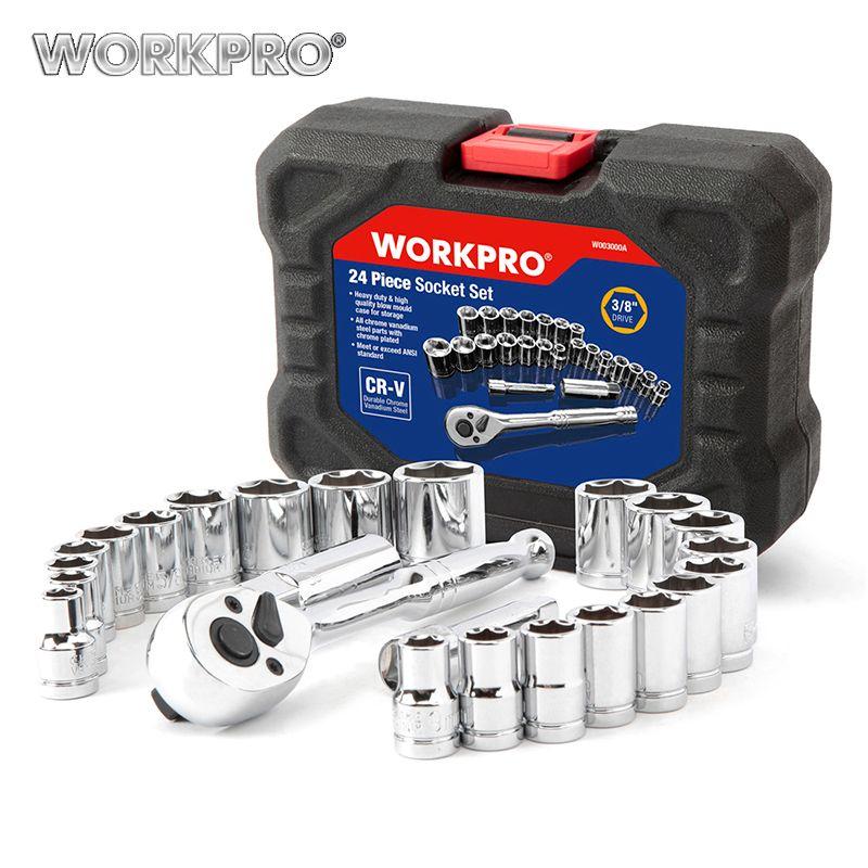 WORKPRO 24 PC jeu d'outils clé dynamométrique jeu de douilles 3/8