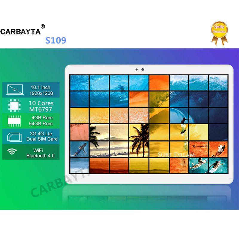 Доставка DHL carbayta Android 7.0 10.1 дюймов mt6797 S109 планшетный ПК 10 core 4 ГБ Оперативная память 64 ГБ Встроенная память 1920X1200 IPS 4 г LTE подарок tabletter