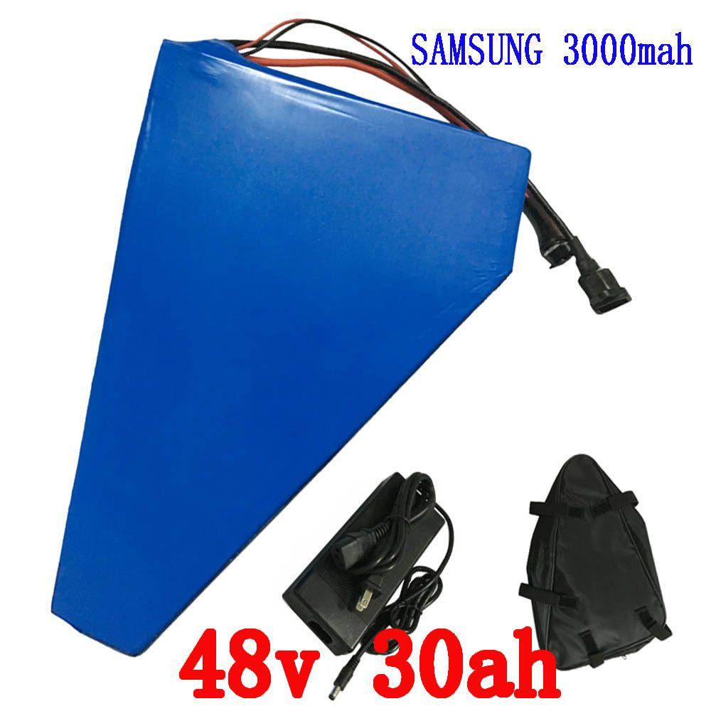 Elektrische fahrradbatterie 48 v 30ah 2000 watt Für Samusng zelle elektrische fahrrad batterie dreieck lithium-ionen-akku mit 50A BMS