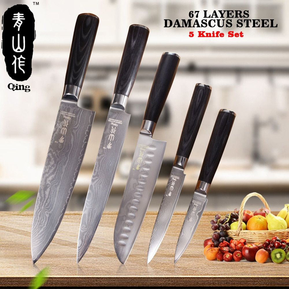 QING 5pcs Damascus Kitchen Knives 8