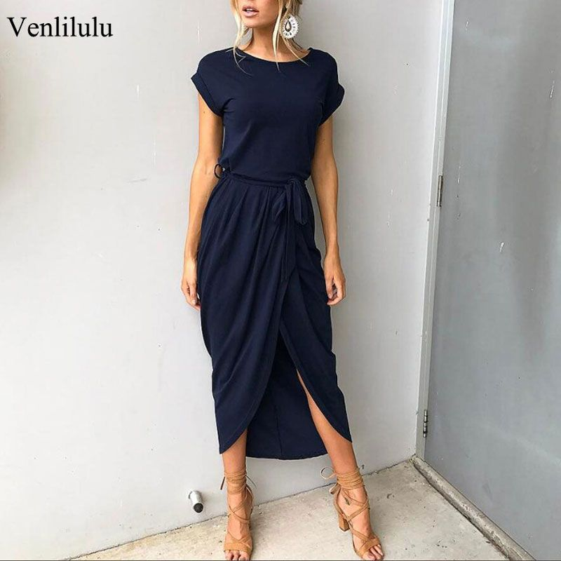2019 grande taille robes de soirée femmes d'été longue Maxi robe décontracté mince élégante robe moulante femme robes de plage pour les femmes 3xl