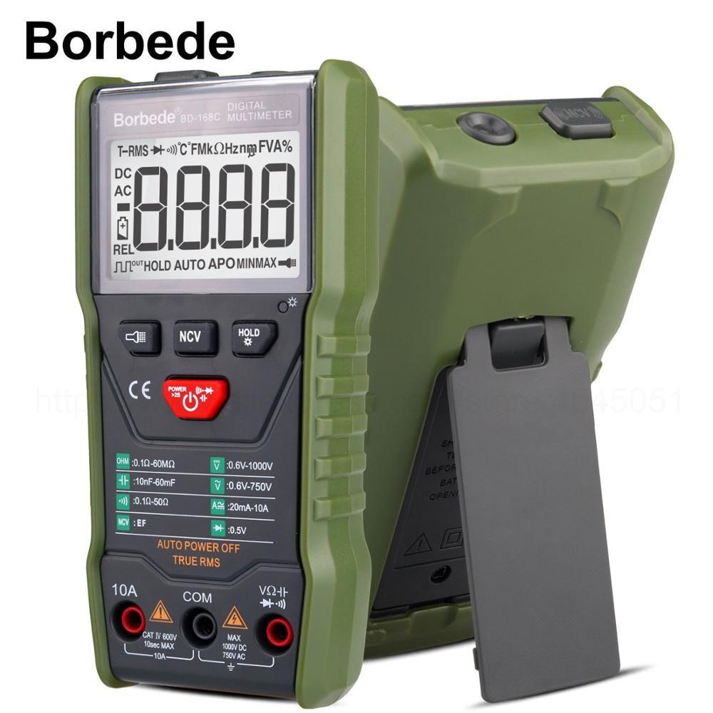 Borbede 168C multimètre numérique à balayage automatique tension ca cc résistance à la capacité réelle testeur RMS 6000 compte Portable