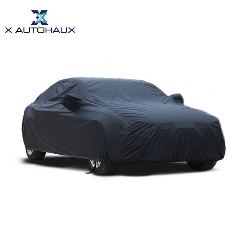 X Autohaux Universal Schwarz Atmungsaktive Wasserdichte Stoff Auto Abdeckung w Spiegel Tasche Winter Schnee Sommer Volle Auto Schutz DECKT
