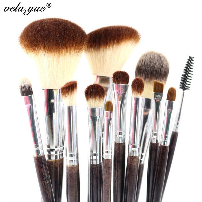 Professionnel Maquillage Brush Set 12 pcs de Haute Qualité Maquillage Outils Kit Violet