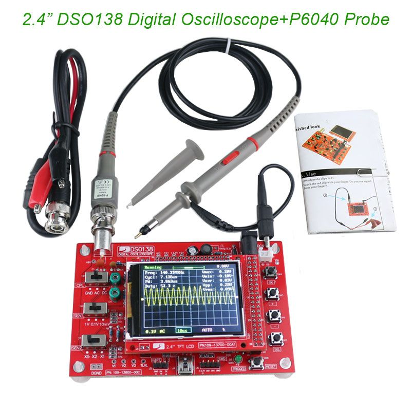 2.4 TFT Digital Oscilloscope 1Msps Kit Parts for Oscilloscope Making Electronic diagnostic-tool <font><b>Learning</b></font> Set DSO138+P6040 Probe