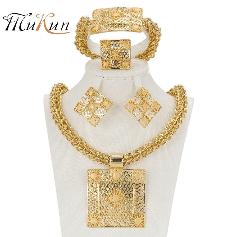 MUKUN 2017 Neueste Beste Qualität Mode Italienischen schmuck Dubai Gold farbe Schmuck sets Afrikanischen Frauen Große Halskette Schmuck