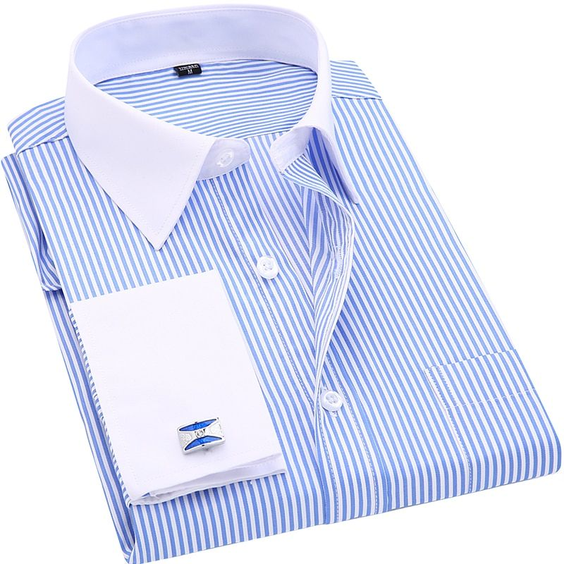 High Quality Striped Men French Cufflinks Casual Dress Shirts Long Sleeved White Collar Design Style Wedding Tuxedo Shirt 6XL
