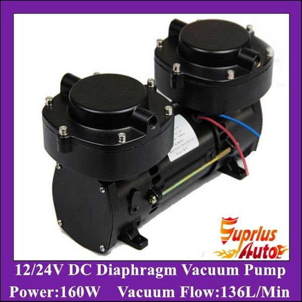GZ70B-12 DC12v/24v Oil Free DC/AC Electric Diaphragm Vacuum Pump 136LPM vacuum flow,160w Double cylinder compression pump