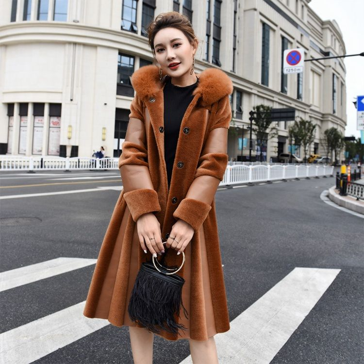 2018 women leather and fur long coat with natural fox fur hoody fur big size warm long jacket genuine sheepskin leather outwear