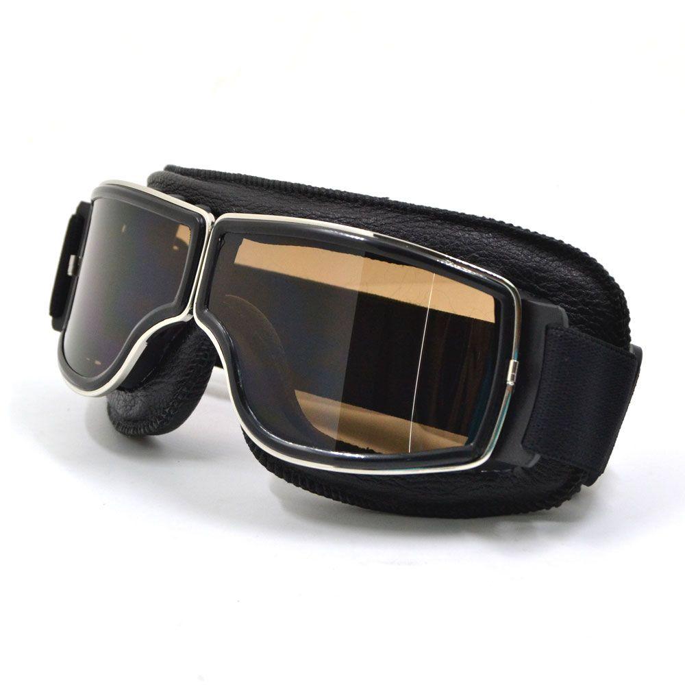 BJMOTO 2017 Vintage Universal <font><b>Foldable</b></font> Silver Frame Goggles Motorcycle Glasses Helmet Goggle Motorbike Sunglasses