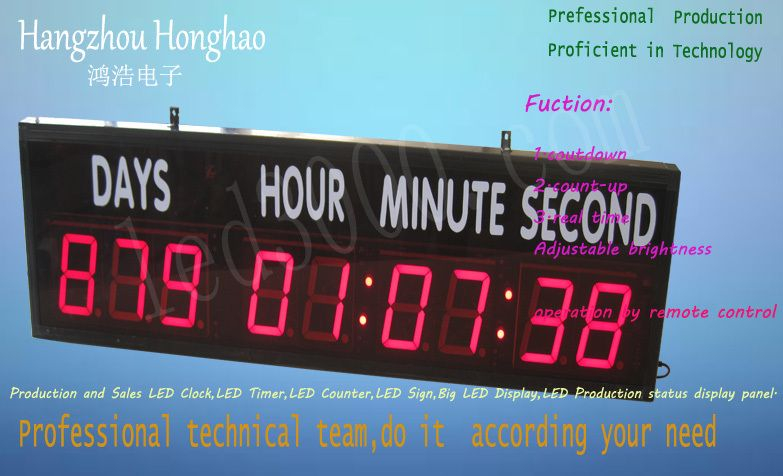 free shipping large size 4inch days,hours,minutes and seconds countdown clock(HIT9-4R with sticker)