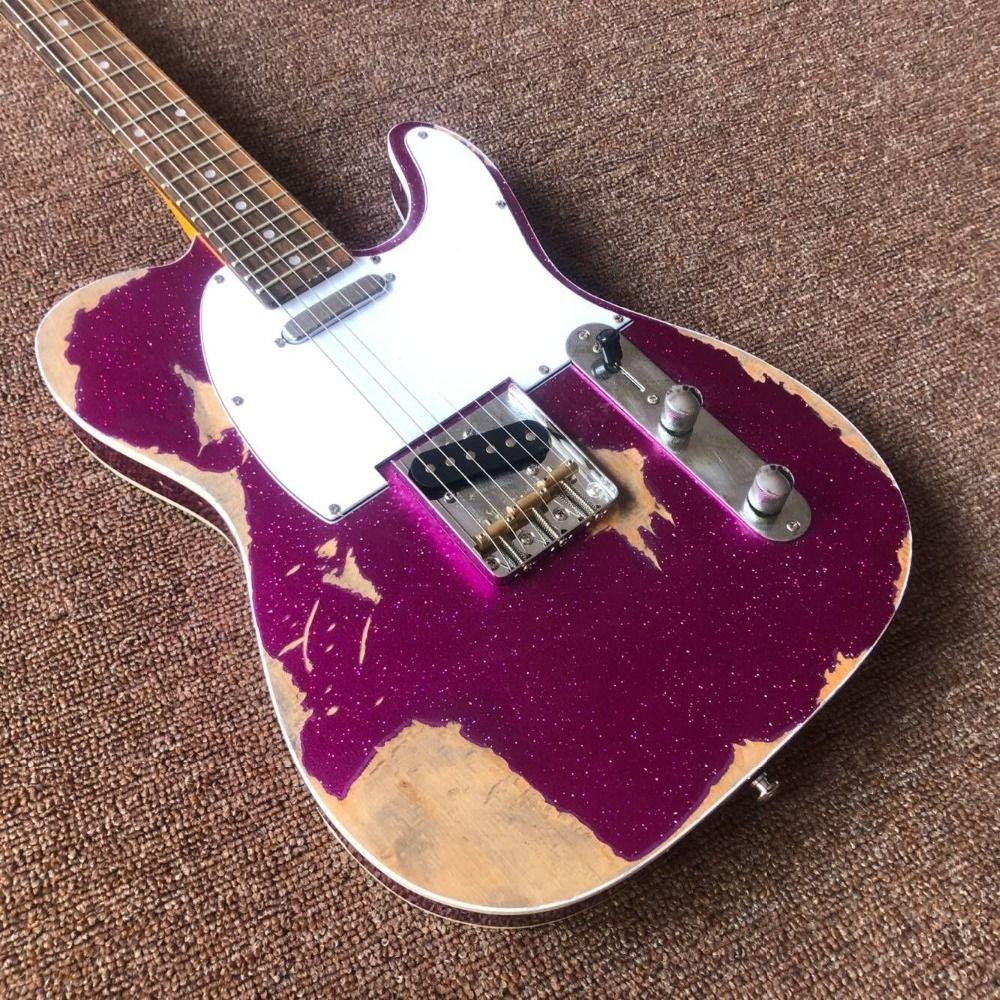 Custom Shop handmade telecast gitaar,purple color Tele electric Guitar relics by hands. master build relic TL guitarra.real pic
