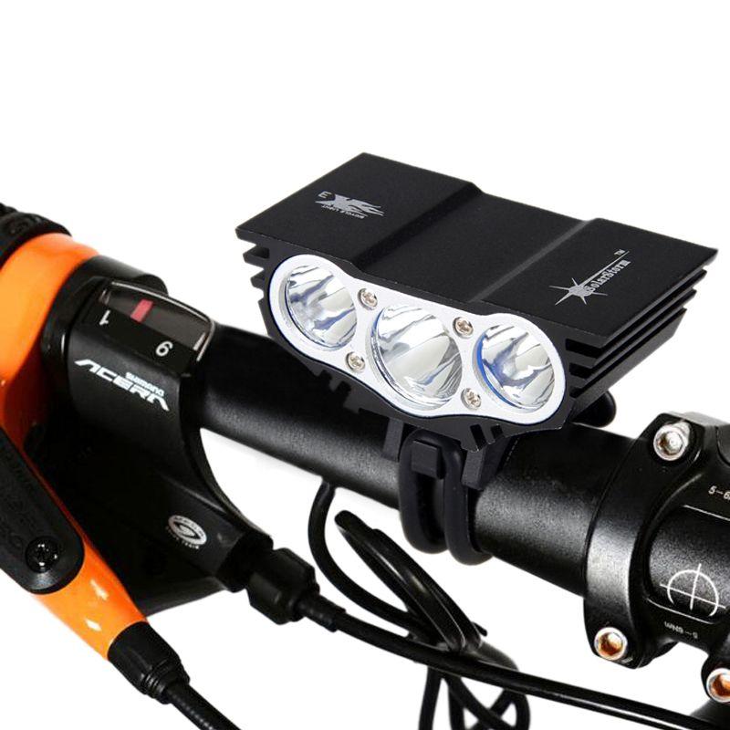 Solarstorm 5000Lm Headlamp 4-Mode Bike Light Front Bicycle <font><b>Headlights</b></font> + Battery Light Bicycle 3x XM-L T6 LED