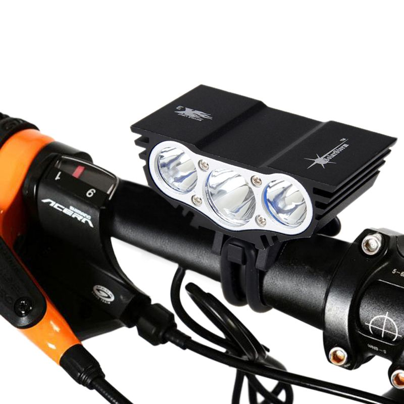 Solarstorm 5000Lm <font><b>Headlamp</b></font> 4-Mode Bike Light Front Bicycle Headlights + Battery Light Bicycle 3x XM-L T6 LED