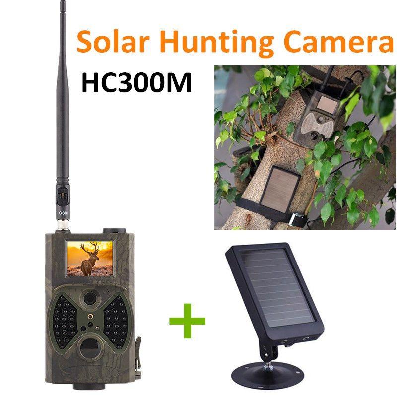 HC300M Nachtsicht Jagd Spiel Kamera MMS GPRS Mit Solarpanel Ladegerät Foto Fallen Solar power pack wilden kamera CE ROHS