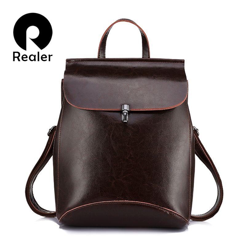 REALER women backpack split leather backpack school bag for girls teenagers vintage backpack large travel female shoulder bag