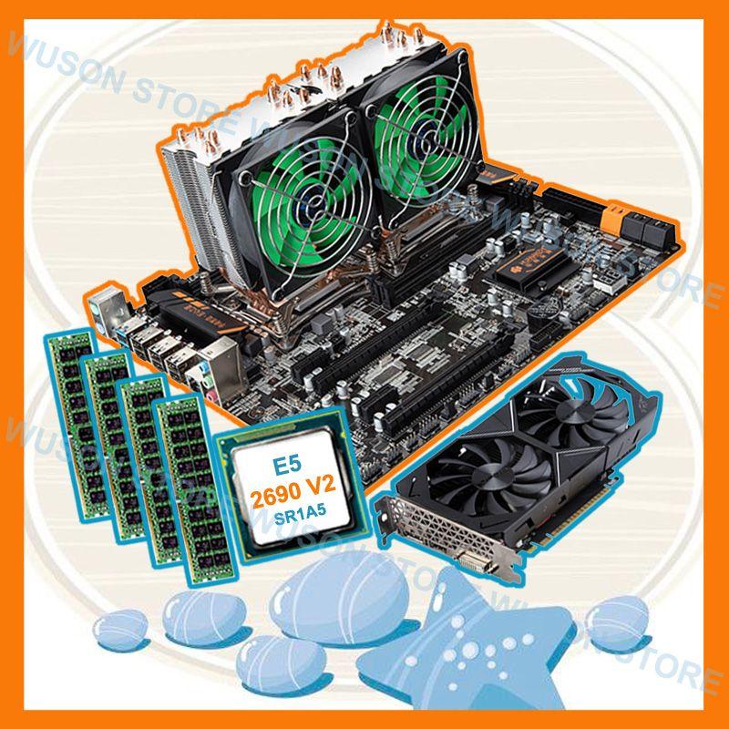 Rabatt mobo HUANAN ZHI dual X79 motherboard mit dual CPU Intel Xeon E5 2690 V2 3,0 GHz RAM 4 * 16G 1866 video karte GTX1050TI 4G
