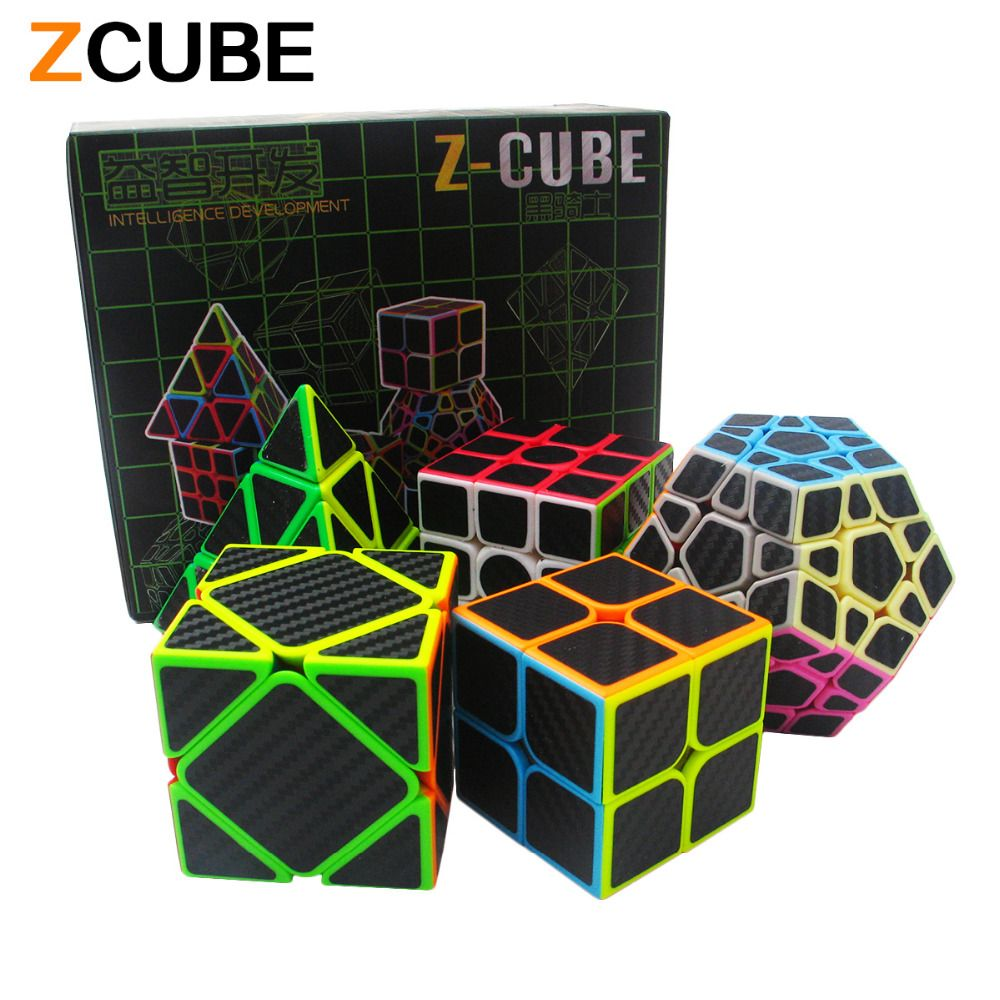Zcube Set 5pcs /box Carbon Fiber Magic Cube Pyraminx & Dodecahedron & Axis Cube &2x2 Cube &3x3 Cube Speed Puzzle Toy Gift -48