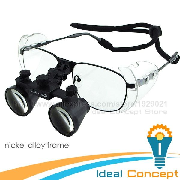 2.5x Nickel Alloy Frame Dental Loupes Galilean Style Surgical Medical Loupes 100mm Field of View +420mm Working Distance