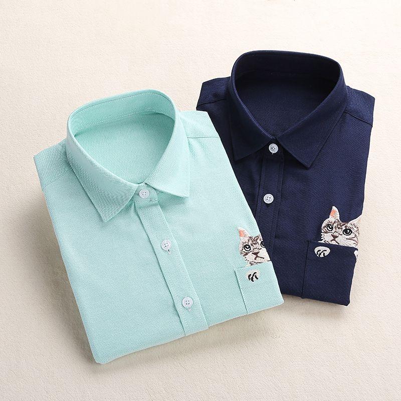 Dioufond Femmes Chemise D'école Blanc Bleu hauts Dames Blouses à manches longues Chemise Femelle Bureau Poche Supérieure Avec Chat Broderie