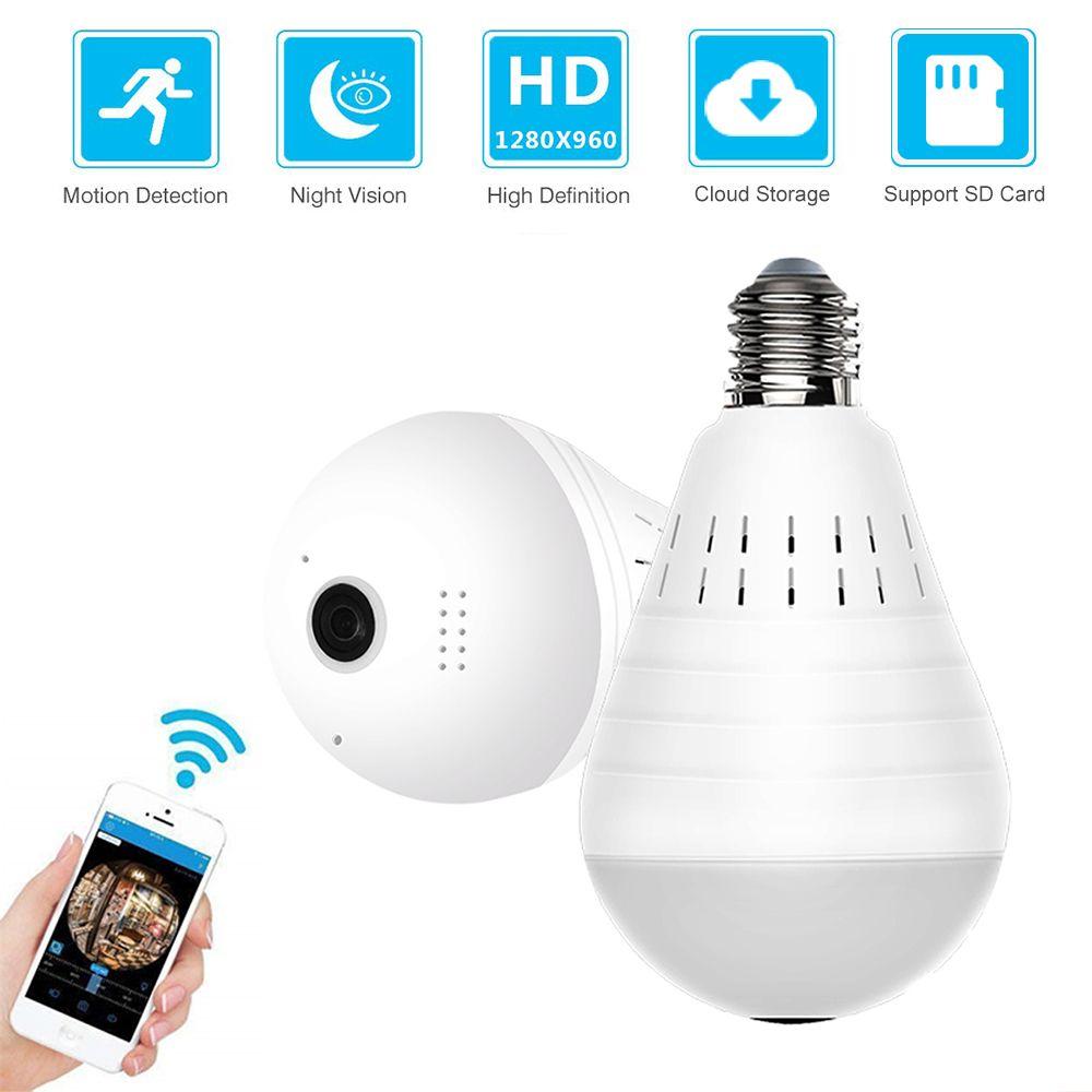 ZILNK panoramique 360 degrés ampoule lumière IP caméra sans fil Wifi FishEye lentille 960P HD lampe caméra intérieure maison sécurité nuage