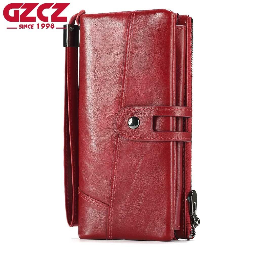 GZCZ Genuine Leather Women Wallet Female Long Clutch Lady Walet Zipper Style Portomonee Rfid Luxury Brand Money Bag Coin Purse