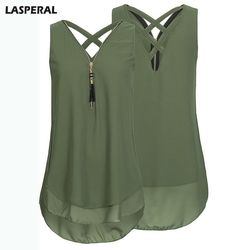 LASPERAL Sleeveless Chiffon Blouses Summer Women Vest Chiffon Tank Top Boho Plus Size Tops Solid Female Blusa Beach Summer Tops
