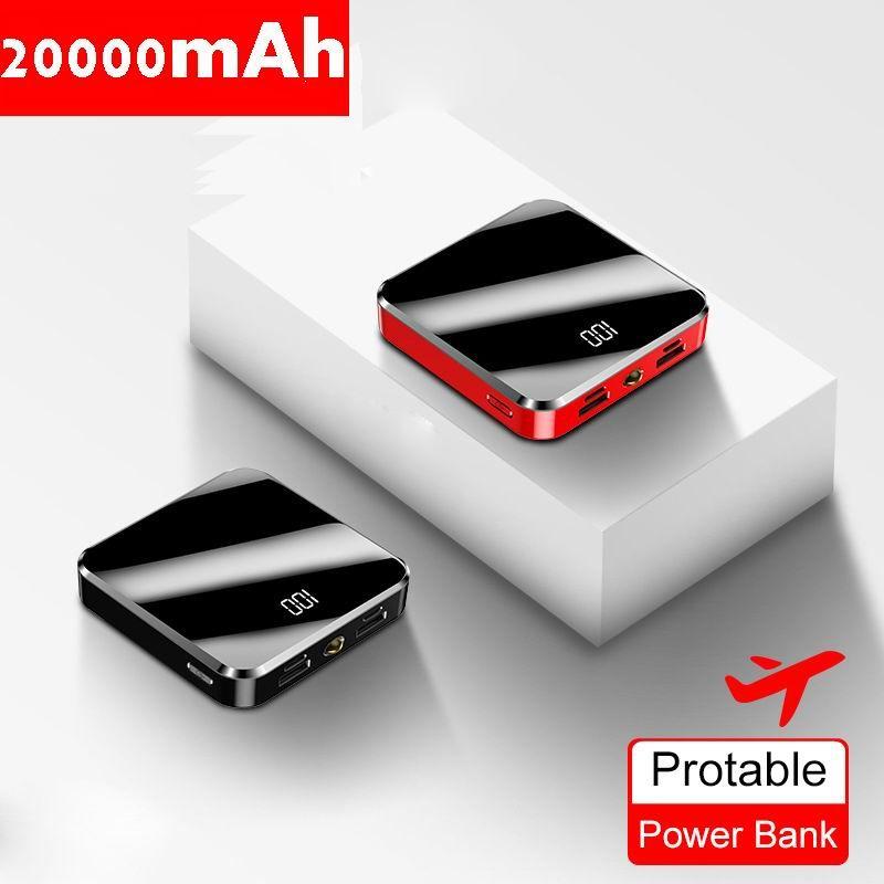 20000mAh Portable mini batterie externe miroir écran d'affichage LED Powerbank batterie externe Pack appauvrbank pour téléphone Mobile intelligent