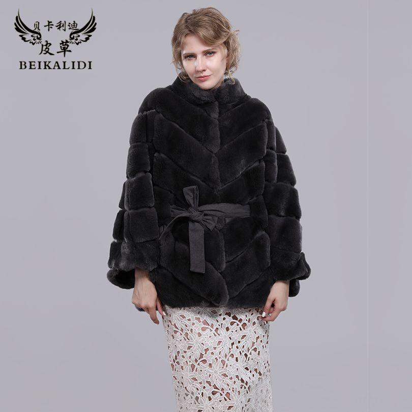 BEIKALIDI Women Real Rex Rabbit Fur Coat Women's Winter Shawl Female Natural Fur Bat Sleeved Coat Stand Collar Design Jacket