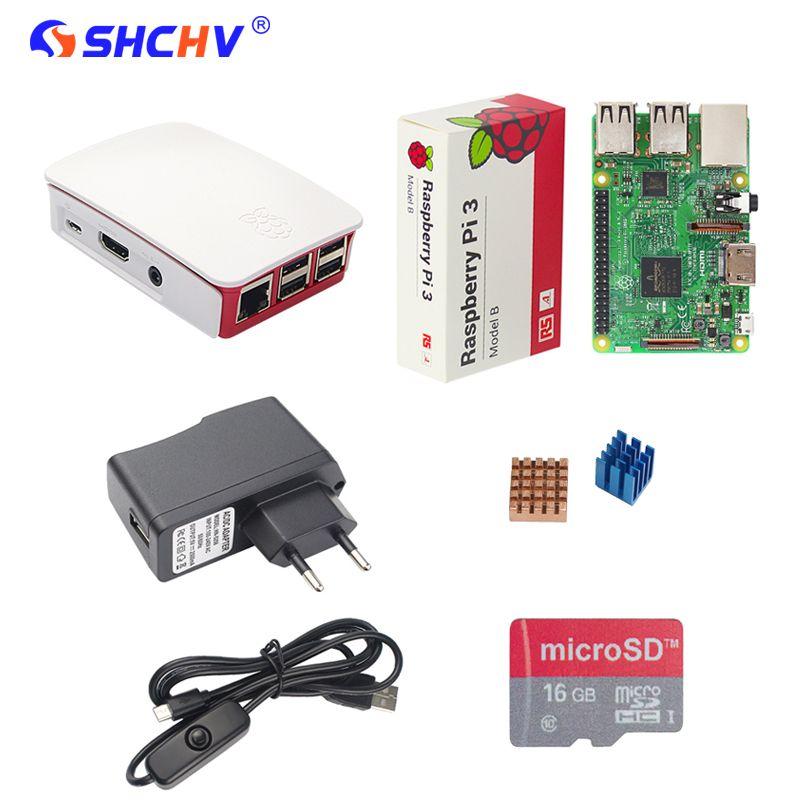 Raspberry Pi 3 Modèle B Starter Kit + 16G SD Carte + Officielles ABS cas + 2.5A Puissance Adaptateur + Câble USB Switch + Dissipateur de Chaleur RPI 3
