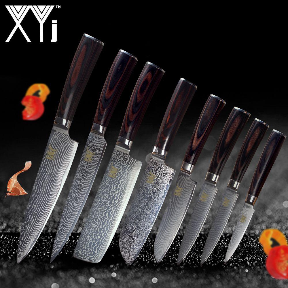 XYj New Year Kitchen Knife Damascus Knives VG10 Core 8 Pcs Sets Fashion Japanese Damascus Steel Beauty Pattern Kitchen Tools