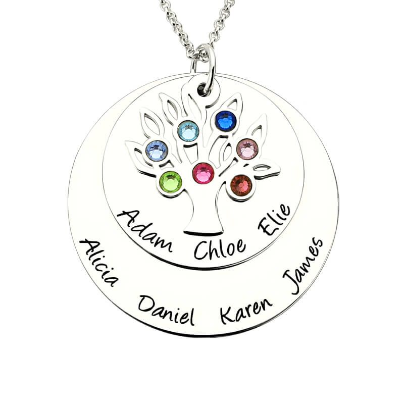 Personalized Family Tree Birthstone Mother Necklace Silver Layered Disc Family Name Necklace Gift for Mother &Grandma