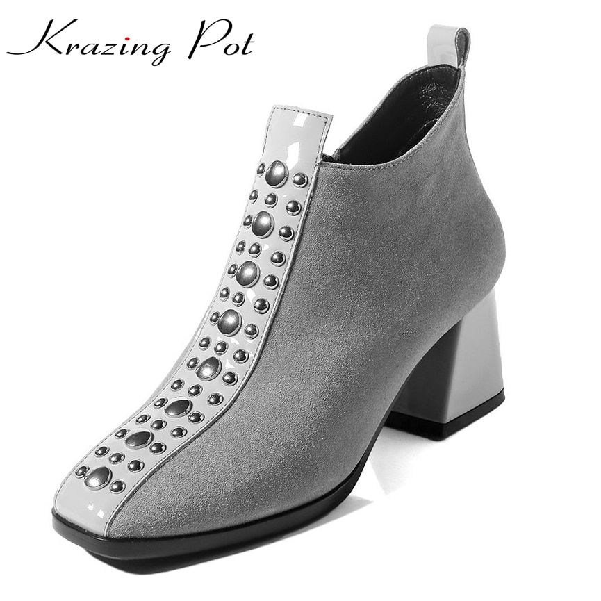 Krazing Pot recommend cow suede big size brand winter shoes thick heel square toe rivets women warm party causal ankle boots L02