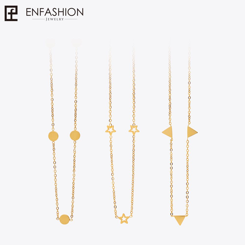 Enfashion Geometric <font><b>Triangle</b></font> Circle Star Choker Necklace Gold color Necklaces Pendants Stainless Steel Necklace Women chocker