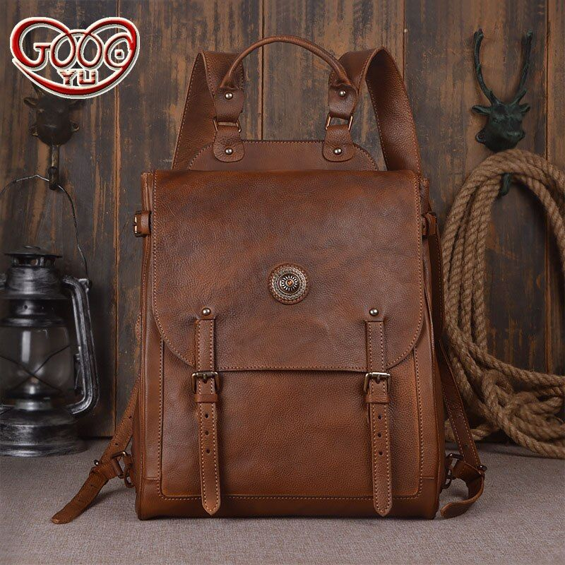 Italian imports of hand-stained vegetable tanned first layer of leather men's shoulder bag retro computer travel backpac