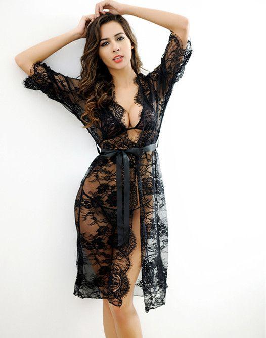 Voplidia Robe Sexy Bademantel Frauen 2017 Nightdress Neue Sommer Spitze Nachthemd Set Nachtwäsche Pyjamas Pijama Feminino Pyjama Vop002