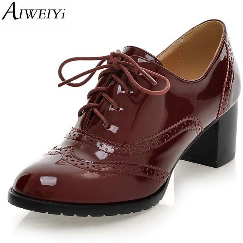 AIWEIYi High Heel Shoes Woman Ladies Oxfords Shoes Women Spring Women Pumps Shoes Soft PU Leather Women High Heels Casual Shoes