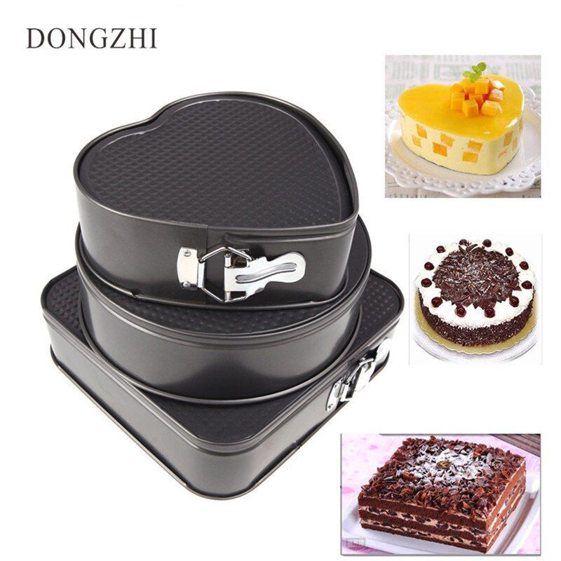 3pcs Nonstick Springform Pan Heat Leakproof Cake Pan Pie Mold With Removable Smooth Bottom And Quick-Release Latch Baking Tin